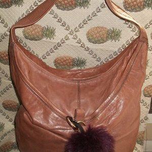 Kooba Taupe Leather Shoulder Bag w Fr Pom Pom